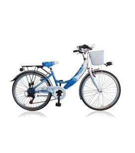 """Vélo fille DIVA 24"""" 6 vit. Bleu/blanc 2019"""