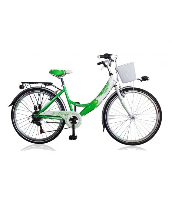 "Vélo fille DIVA 26"" 6 vit. Vert/blanc 2019"