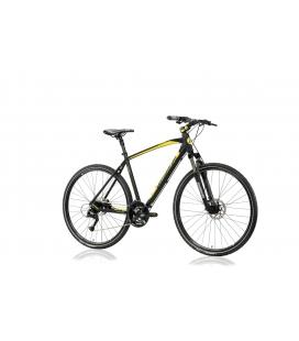 "Vélo trekking AMANTEA 200 28"" homme noir/jaune 2019"