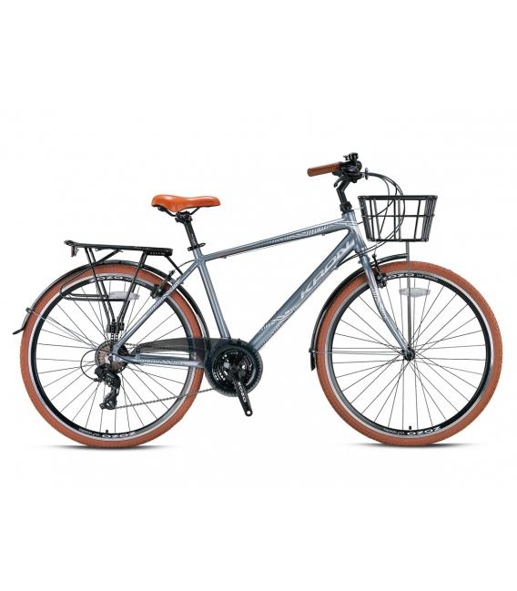 """Vélo de ville Kron CX 100 28"""" homme gris/brun 2021"""