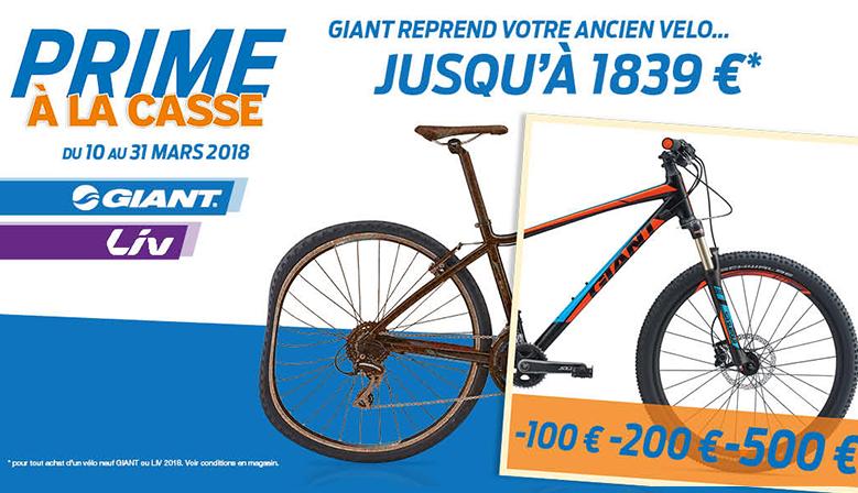 Prime à la casse Giant 2018 pour l'achat d'un vélo neuf